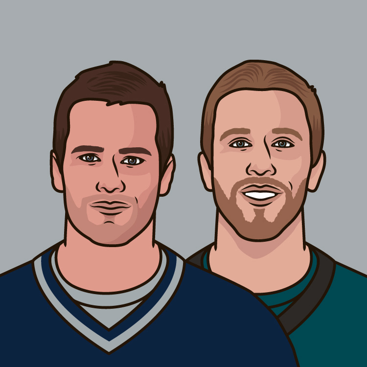 Career passer rating in the playoffs by Tom Brady, Nick Foles