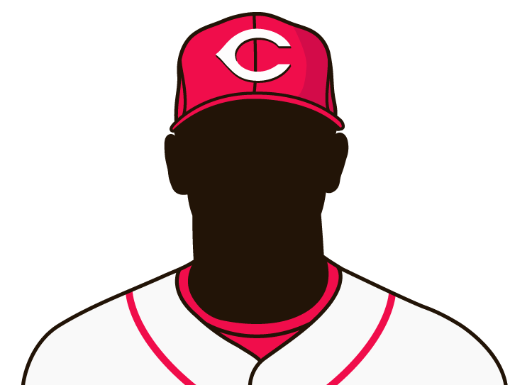 Illustrated silhouette of a player wearing the Cincinnati Reds uniform