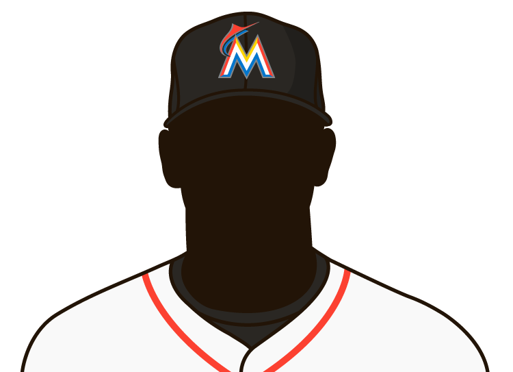 Illustrated silhouette of a player wearing the Miami Marlins uniform