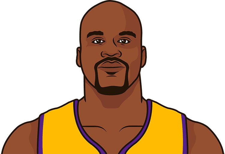 What are Shaq's most rebounds in a game with the Lakers?