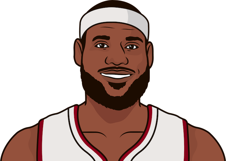 lebron james record for most 25 + points in regular season