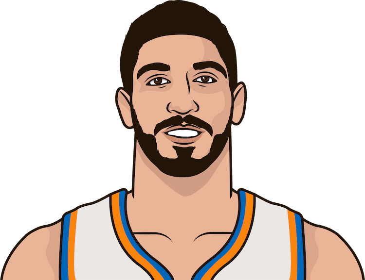What are the most points in a game this season by Enes Kanter?