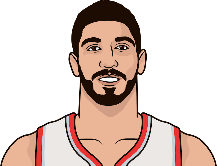 enes kanter last 5 game stats vs celtics