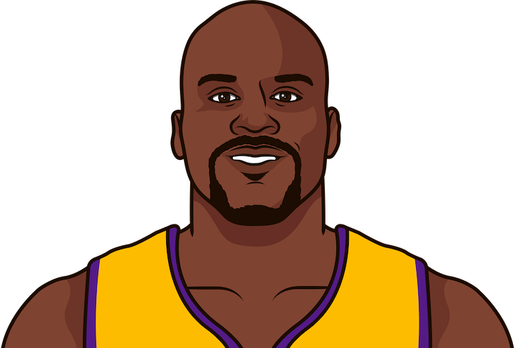 what are shaq's most rebounds in a game with the lakers