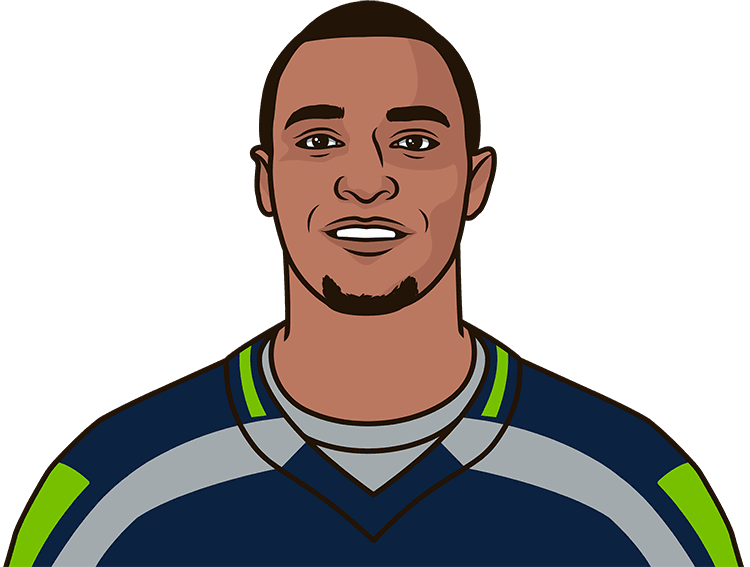 Who was the last Seattle player with 10 receptions in a game on the road?
